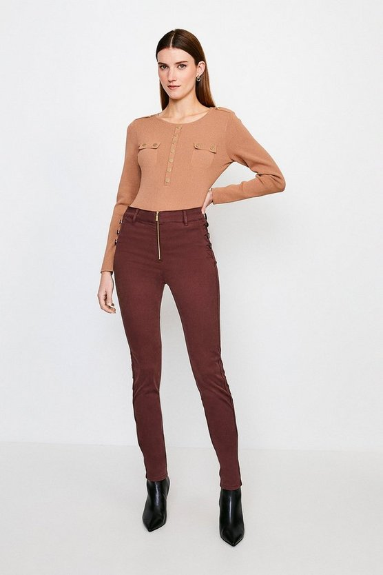 Chocolate Stretch Twill Zip Front Button Detail Jean