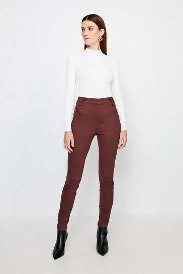 Chocolate Stretch Twill Skinny Button Detail Jegging