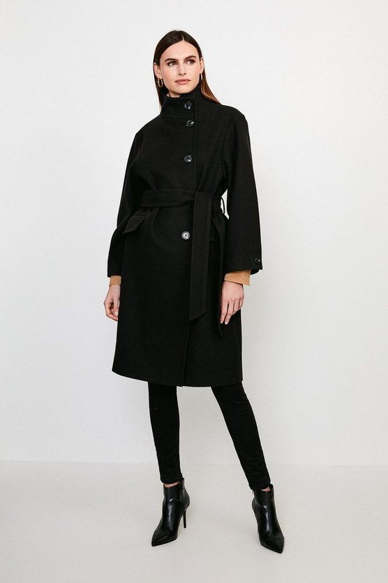 Black Belted Funnel Neck Coat