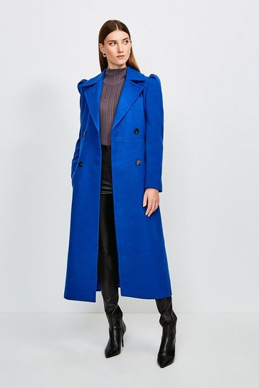 Blue Belted Military Coat