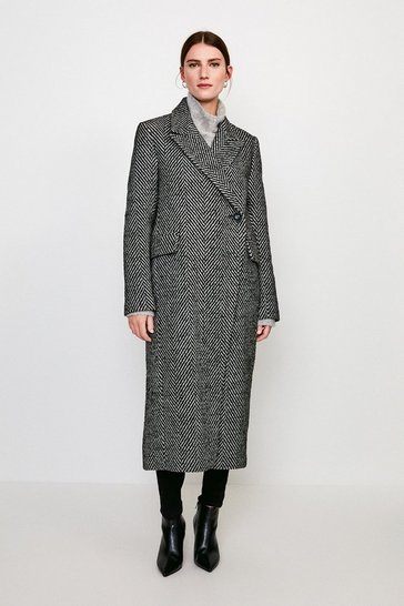 Grey Asymmetric Button Wrap Coat