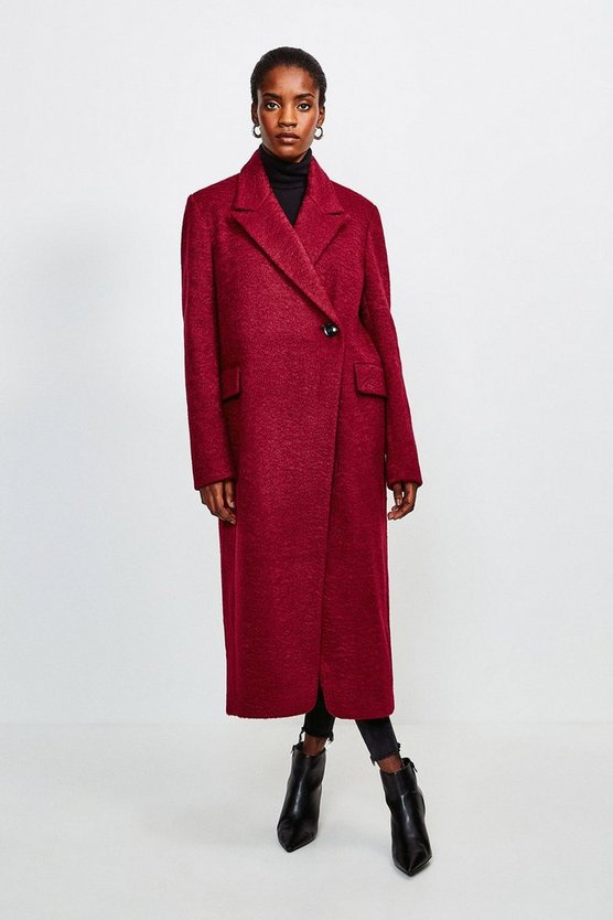 Berry Texture Asymmetric Button Wrap Coat