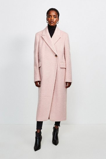 Blush Texture Asymmetric Button Wrap Coat