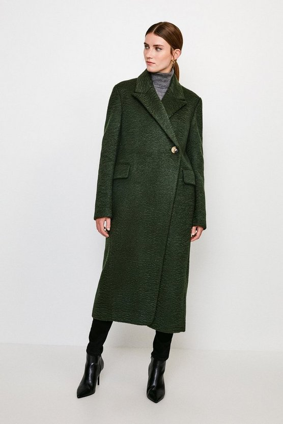 Green Texture Asymmetric Button Wrap Coat
