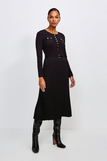 Black Gold Button Pleated Skirt Knit Dress