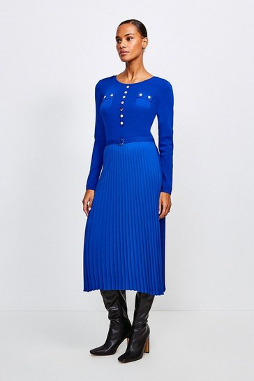 Cobalt Gold Button Pleated Skirt Knit Dress