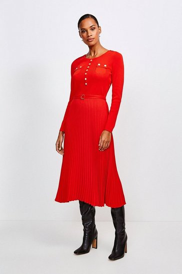 Red Gold Button Pleated Skirt Knit Dress