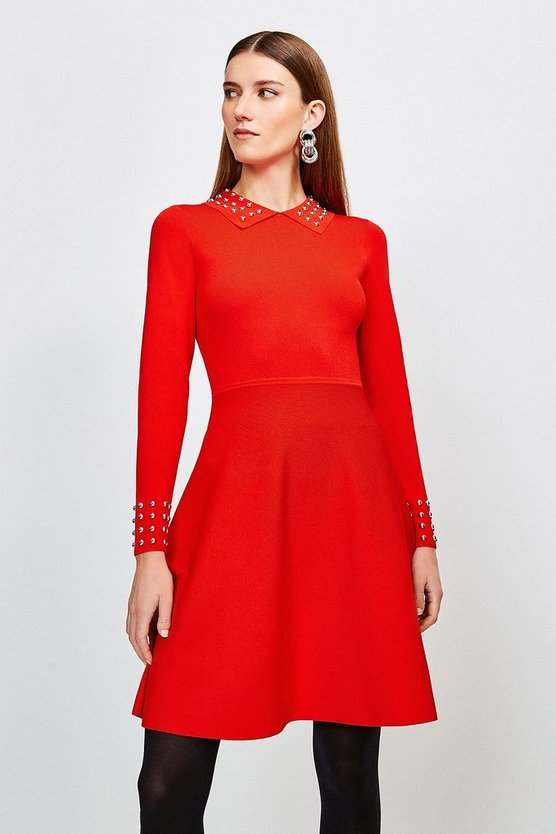 Red Studded Collar Knit Dress
