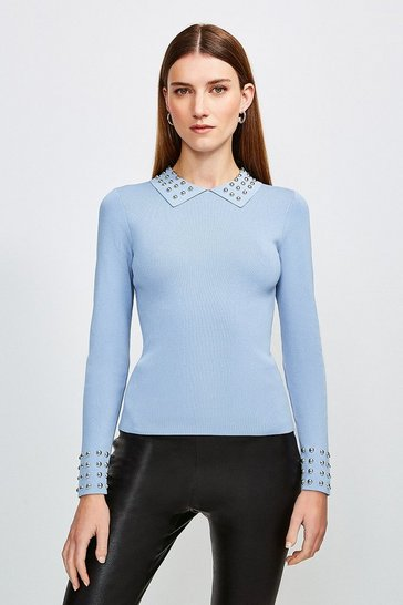 Mid blue Studded Collar Knit Top