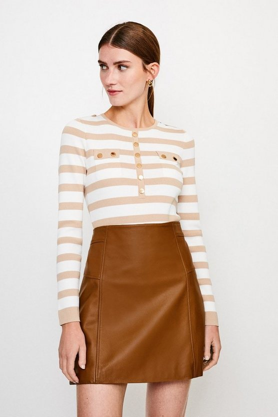 Ivory Stripe Button Front Knitted Top