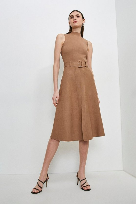 Camel Knit Belted Midi Dress