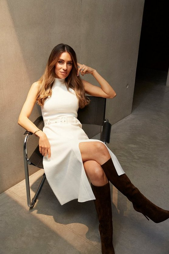Ivory Knit Belted Midi Dress