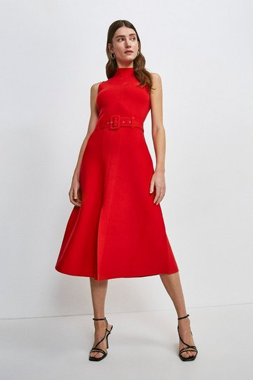 Red Knit Belted Midi Dress