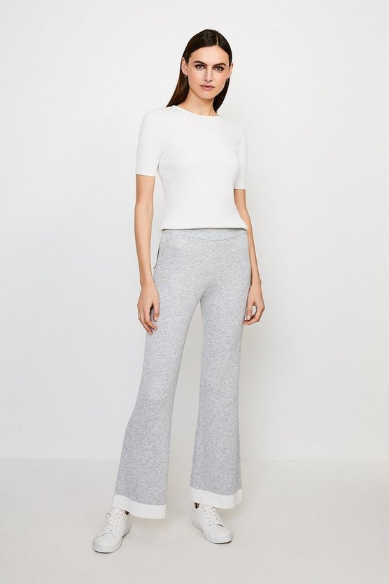Grey Knitted Flare Trouser