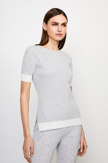 Grey Knitted Short Sleeve Top