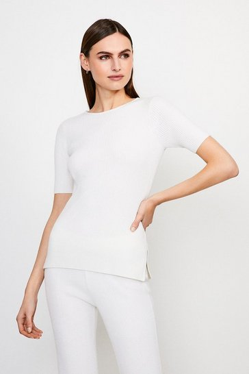 Ivory Knitted Short Sleeve Top