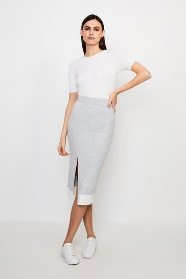 Grey Knitted Midi Skirt