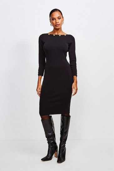 Black Rivet Trim Slash Neck Dress