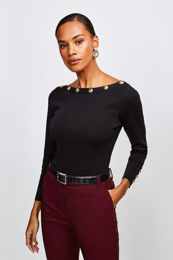 Black Rivet Trim Slash Neck Top