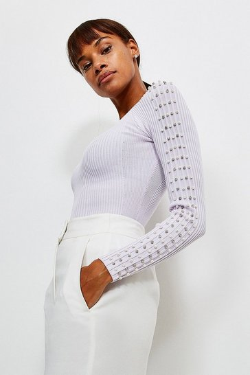 Lilac Sparkle Trim Sleeve Knitted Rib Top