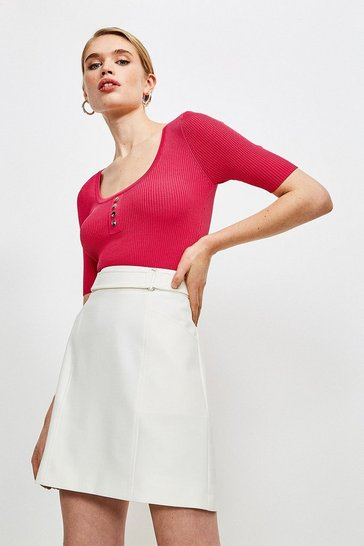 Hot pink Knitted Rib Rivet Front Short Sleeve Top