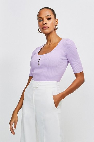 Lilac Knitted Rib Rivet Front Short Sleeve Top