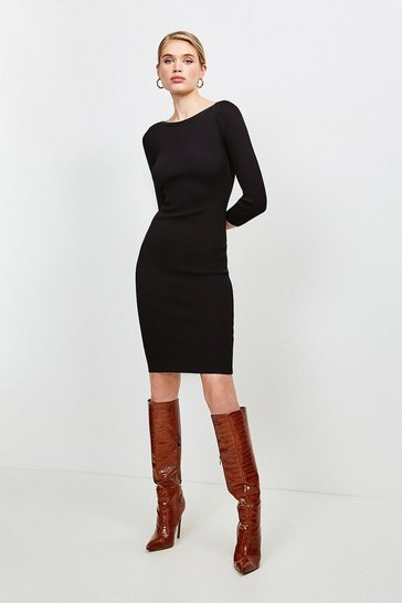 Black Knitted Rib Rivet Slash Neck Dress