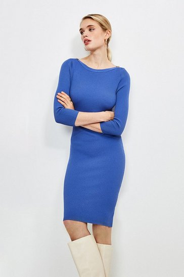 Cornflower blue Knitted Rib Rivet Slash Neck Dress
