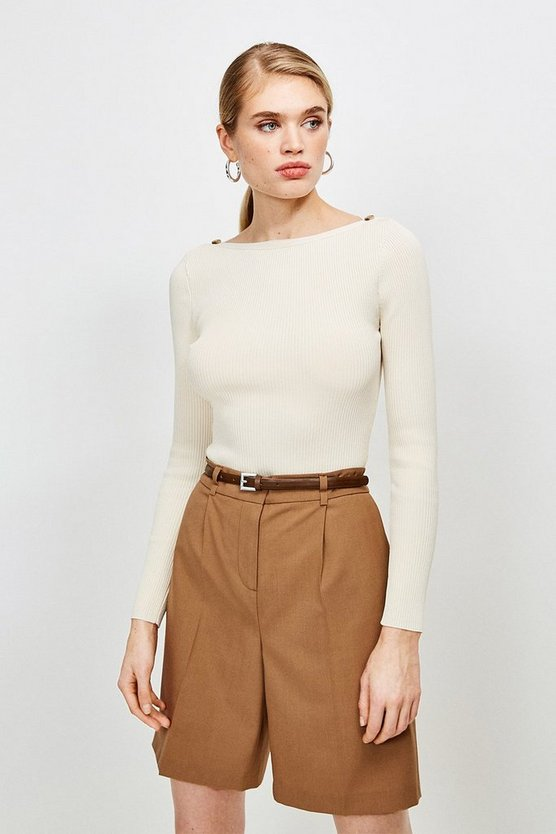 Ivory Knitted Rib Rivet Slash Neck Top