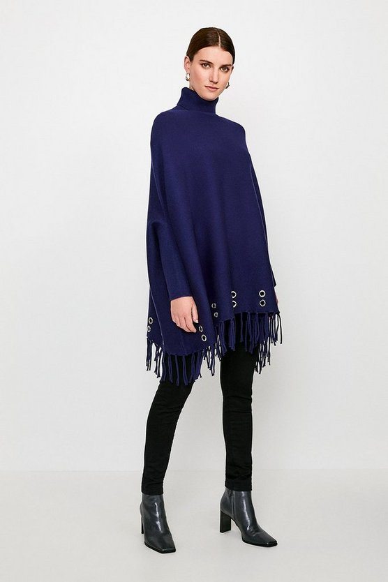 Navy Roll Neck Eyelet Knit Poncho