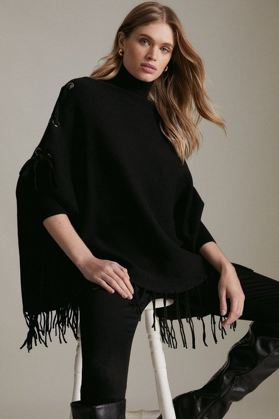 Black Roll Neck Fringed Knit Poncho