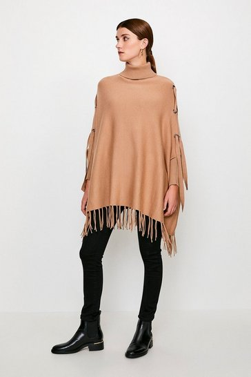 Camel Roll Neck Fringed Knit Poncho