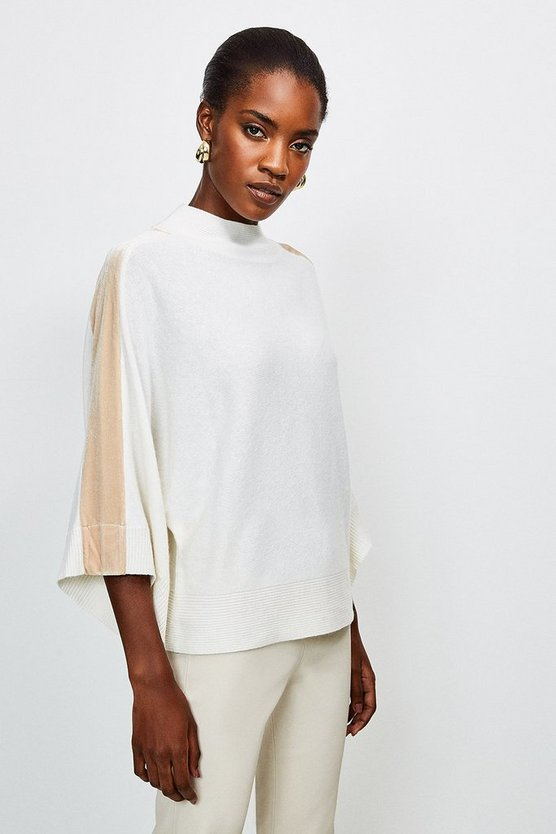 Cream Velvet Panel Knit Poncho