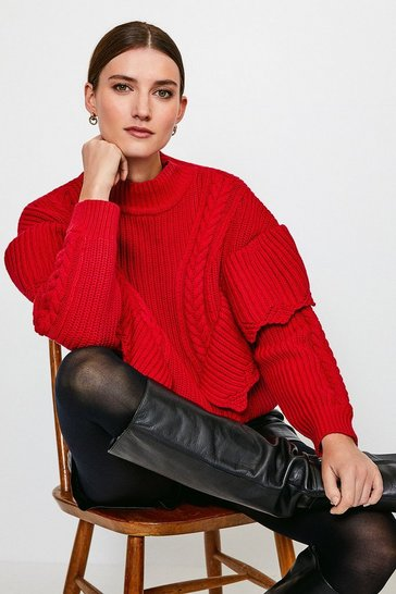 Red Chunky Rib Frill Knit Jumper