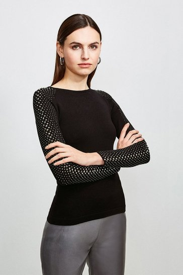 Black Hot Fix Stud Jumper