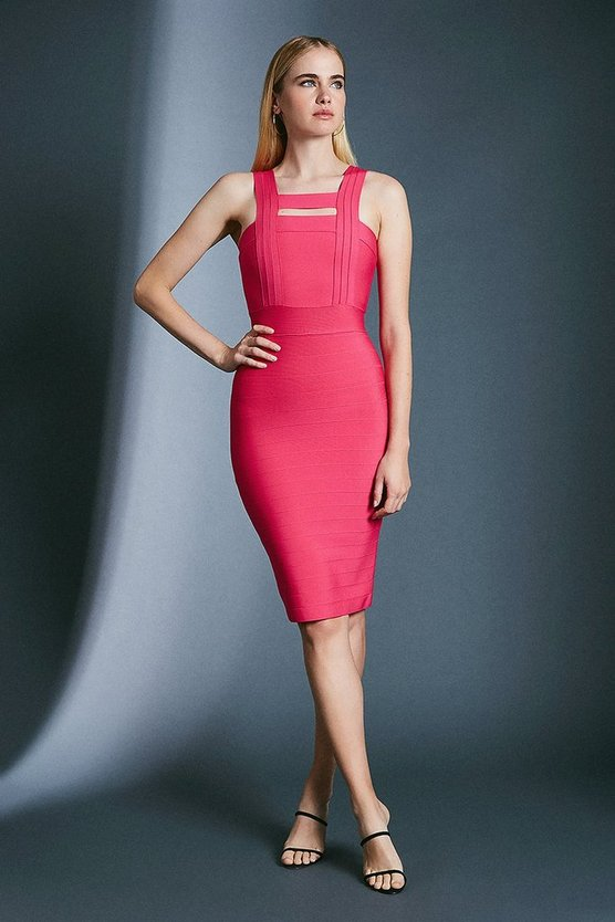 Fuchsia Peep Hole Bandage Knit Dress