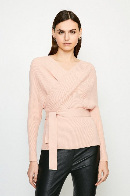 Pink Wrap Knit Jumper