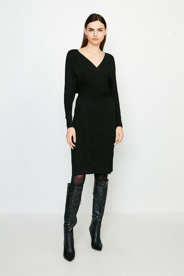 Black Wrap Knit Dress