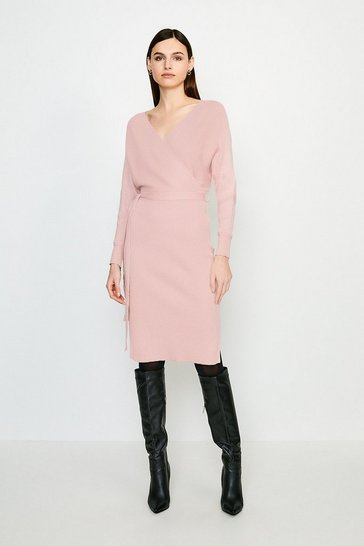Pink Wrap Knit Dress