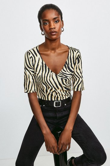 Zebra Viscose Jersey Print Wrap Top