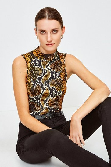 Snake Printed Viscose Sleeveless Funnel Top