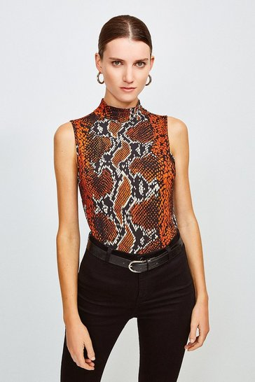 Brown Printed Viscose Sleeveless Funnel Top