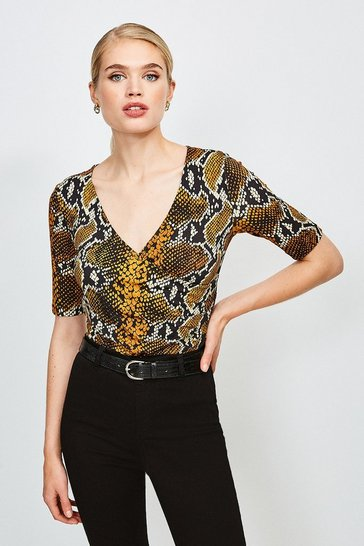 Snake Printed Wrap Front Viscose Top