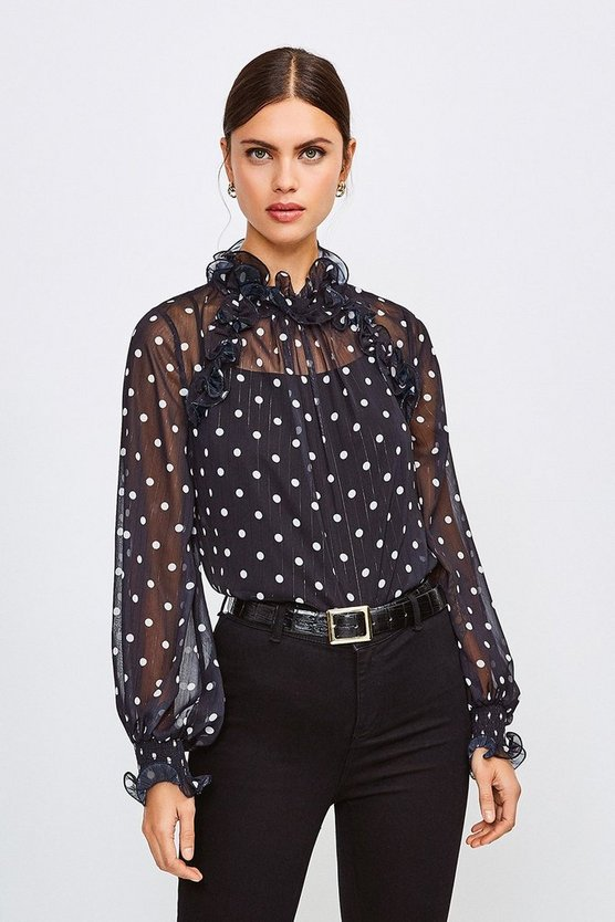 Black Polka Dot Ruffle Detail Blouse