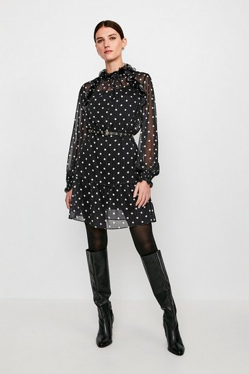 Black Polka Dot Long Sleeve Short Dress