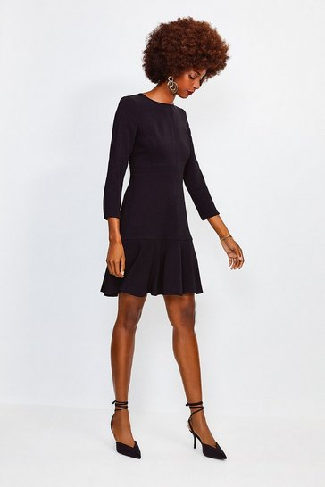 Black Long Sleeve Ruffle Hem Top Stitch Dress