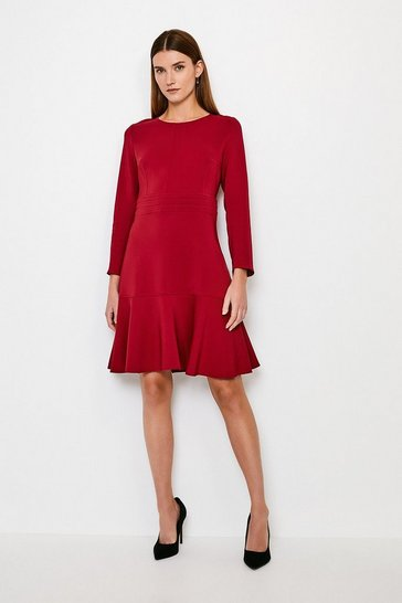 Brick Long Sleeve Ruffle Hem Top Stitch Dress