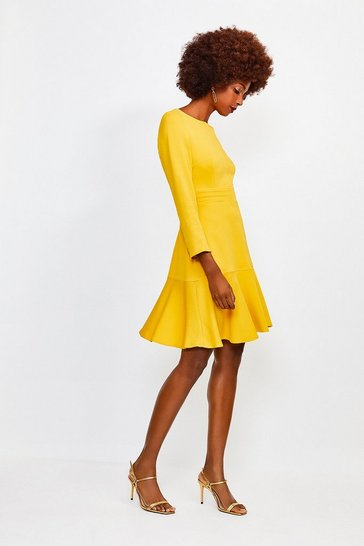 Mustard Long Sleeve Ruffle Hem Top Stitch Dress