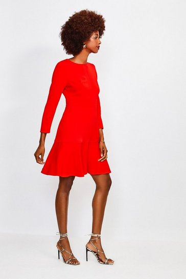 Red Long Sleeve Ruffle Hem Top Stitch Dress