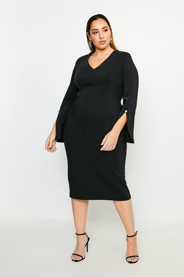 Black Curve Long Sleeve Deep V Neck Pencil Dress